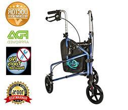 HEALTHLINE 3 Wheel Rollator Walker for Seniors, Foldable Lig