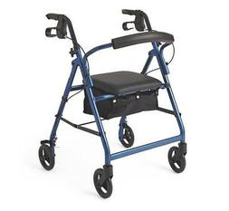 Medline Durable Aluminum Fold Up Mobility Rollator Walker wi