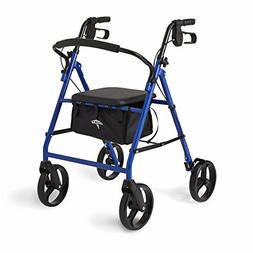 Medline Standard Steel Folding Rollator Adult Walker with 8