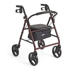 Medline Standard Adult Steel Folding Rollator Walker Aid wit