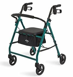 "Medline Standard Steel Folding Rollator Walker with 6"" Wheel"