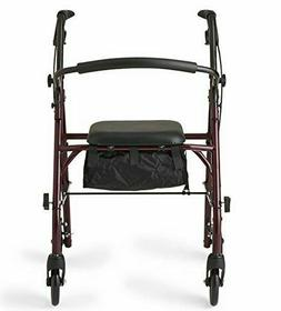 Medline Steel Foldable Adult Rollator Mobility Walker with 6
