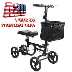 Black Foldable Steerable Knee Walker Scooter Turning Brake B