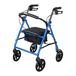 "Blue 4 Wheel Steel Walker Rollator with seat and 8"" Wheels R"