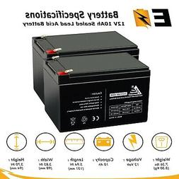 ExpertBattery 2pk: 12V 10Ah Replacement Battery for Pride Mo