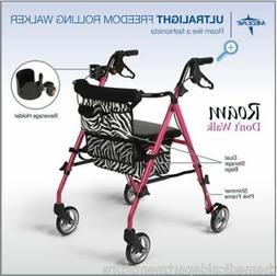 Medline  Freedom Rollator Walker UltraLight Pink Posh Zebra
