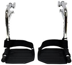 Heavy Duty Chrome Wheelchair Footrests with Black Aluminum F