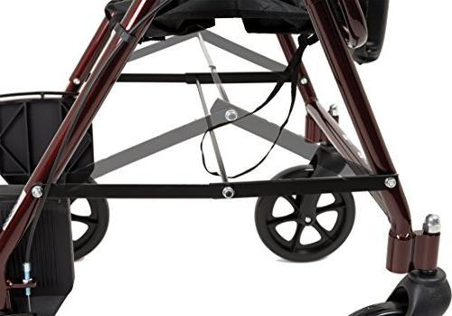 ProBasics Transport With Seat and Wheels - Folding Walker Transport Burgundy