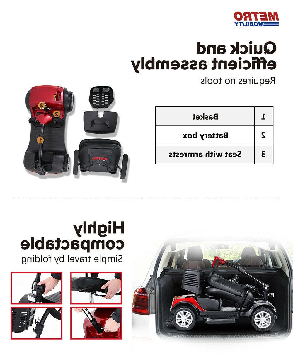 4 Wheel Compact Scooter Seat For