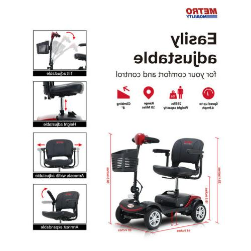 4 Wheel Mobility Electric Powered Foldable Compact for Travel