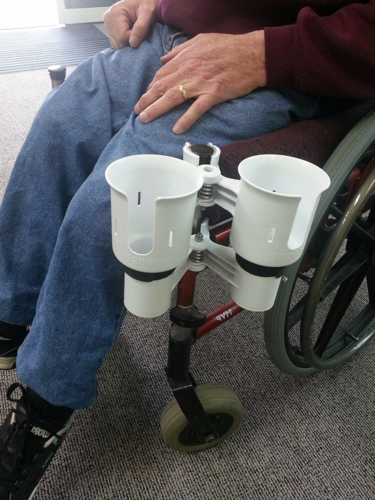 *ROBOCUP* Clamp On Drink Cup Holder Mobility Scooter Crutch Cane