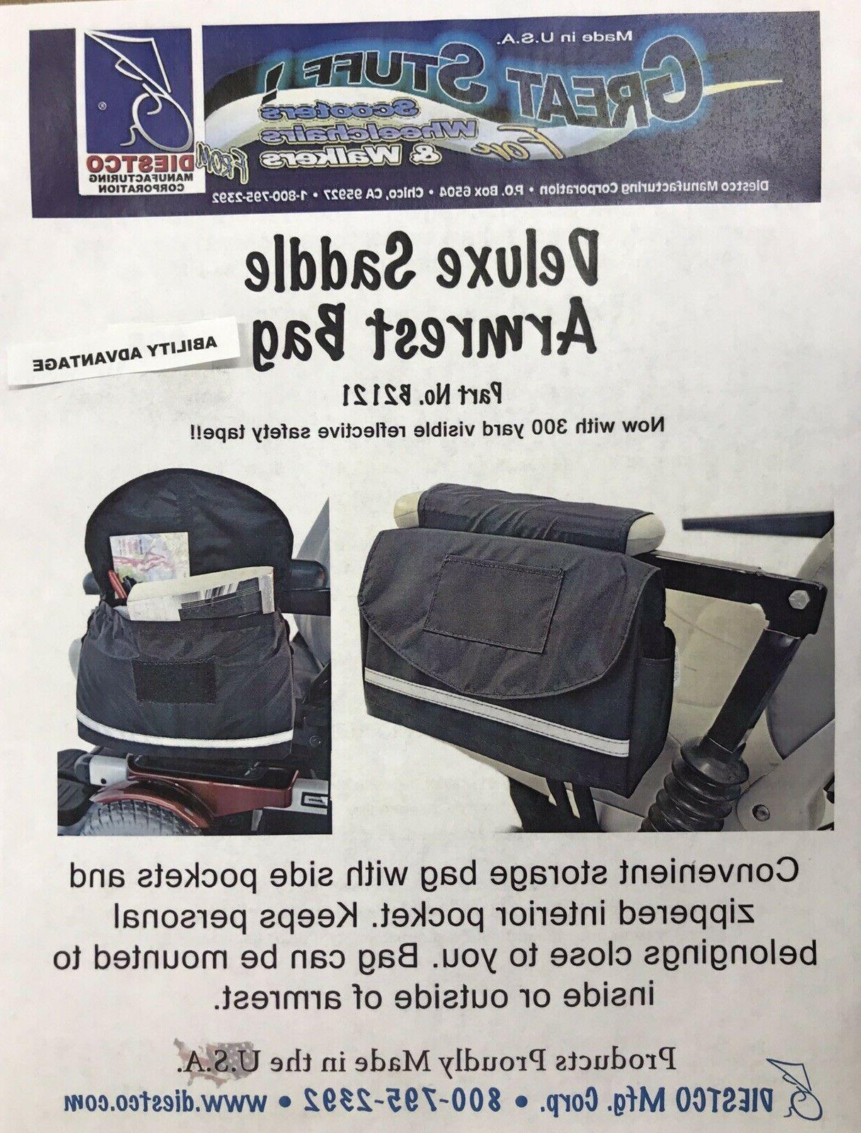 deluxe armrest saddle bag for mobility scooters