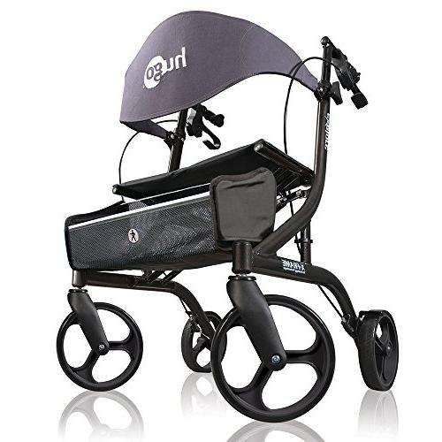 Hugo Explore Side-Fold Rollator Walker With Seat, Backrest