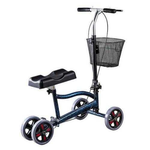 foldable steerable medical knee walker scooter crutch