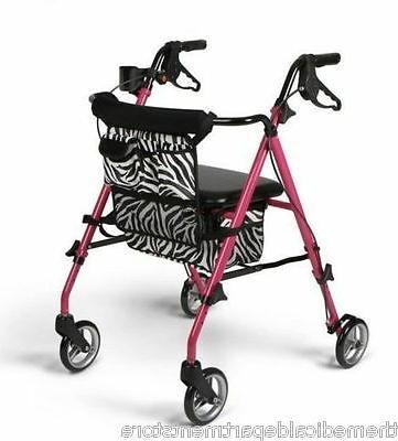Medline Rollator Walker UltraLight Pink Posh Zebra Folding MDS86835SHE