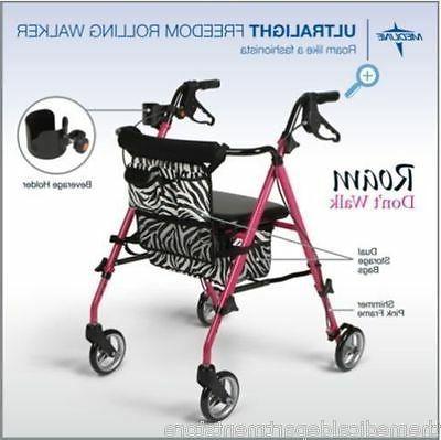 freedom rollator walker ultralight pink posh zebra