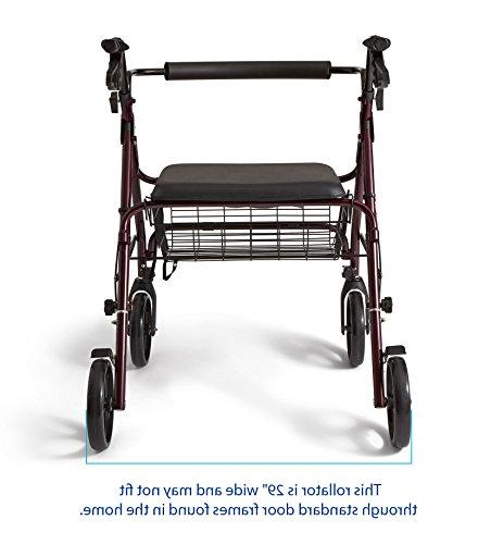 Medline Heavy Duty Aluminum Mobility Rollator with Inch 400 lbs Capacity
