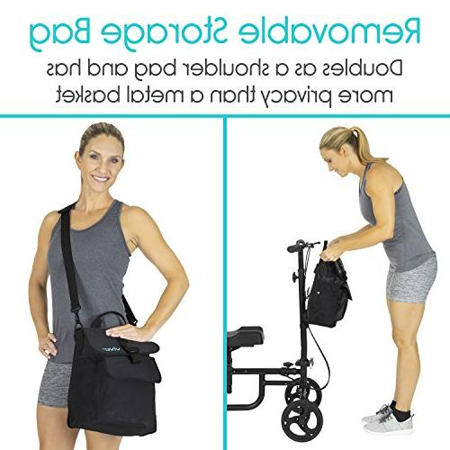Vive Knee Walker - Steerable Scooter Leg, Foot, - Kneeling Cart Orthopedic Seat Pad For Adult and Elderly Mobility - 4 Caddy - Included