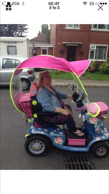 mobility scooter rain sun canopy pink