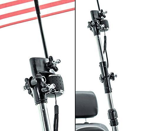 Patriotic Umbrella Holder Assembly J215 and Rain Protection many power wheelchairs