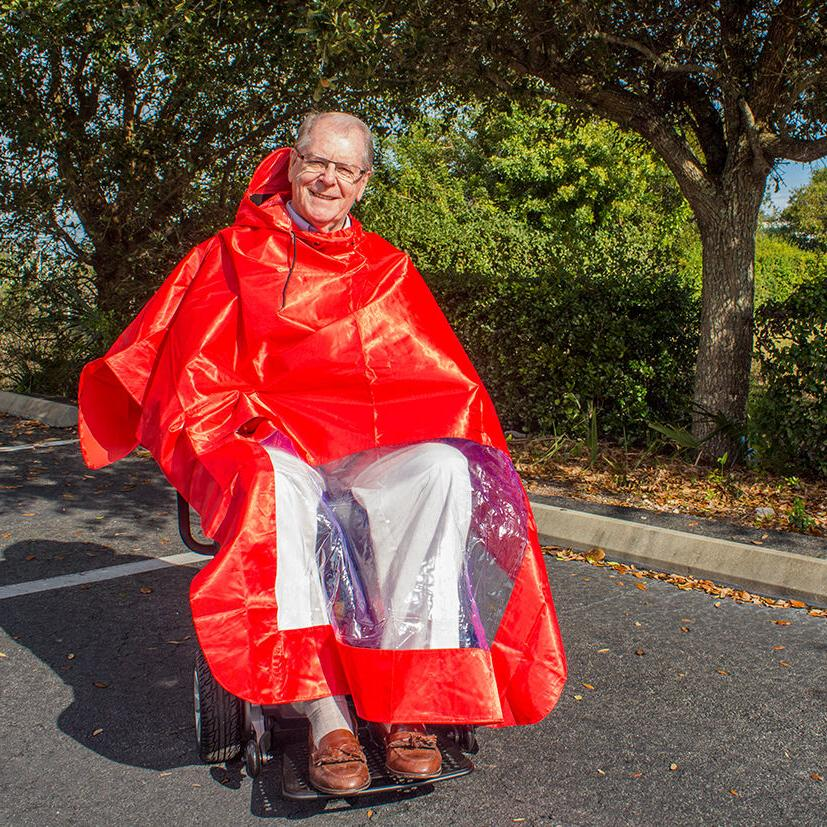 Scooter Poncho Red Challenger Mobility Lightweight, Waterproof &