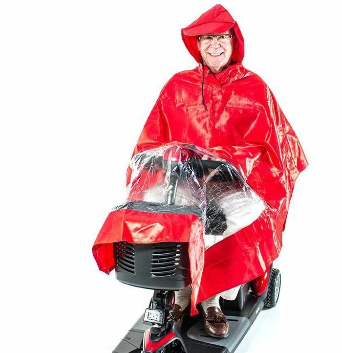 Scooter Rain Poncho Red Challenger Mobility J800, Lightweigh