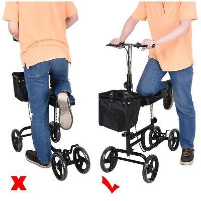 Steerable Knee Walker Scooter Brake Medical Black