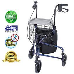 Health Line Lite Folding 3 Wheel Aluminum Rollator Walker Li
