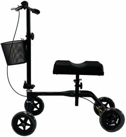New Black Steerable Foldable Knee Walker Scooter Turning Bra