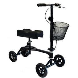 New Steerable Foldable Knee Walker Black Scooter Turning Bra