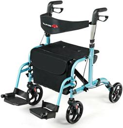 Hugo Portable Rollator Walker with Seat, Backrest and 8 Inch