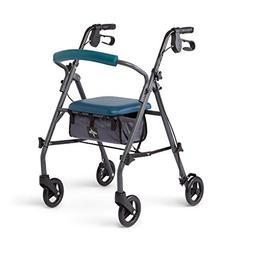 Medline Rollator Walker with Seat and Wheels, Folding Walker