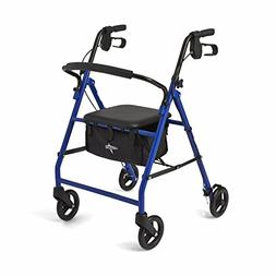 Medline Steel Foldable Adult Transport Rollator Mobility Wal