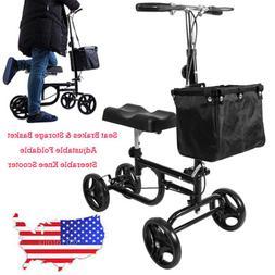 New Steerable Foldable Knee Walker Scooter Turning Brake Bas