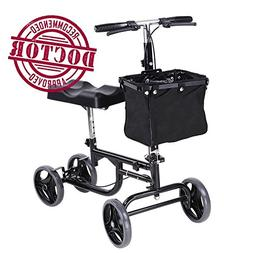 Koval Steerable Knee Scooter, Adult Walker w/Wheels and Bask