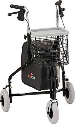 NOVA Medical Products Traveler 3-Wheel Walker, Black
