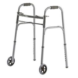 Medline Two-Button Basic Folding Walkers with Wheels, 5 Inch