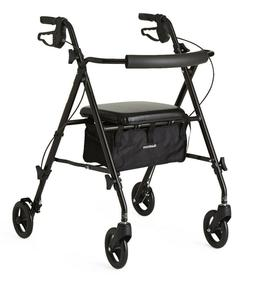 Medline Ultra-Lightweight Freedom Rollator, Black, 1 ea