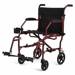 "Medline Ultralight Transport Mobility Wheelchair, 19"" Wide"