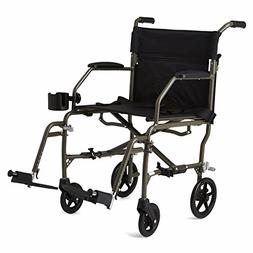 "Medline Ultralight Mobility Transport Wheelchair, 19"" Wide"