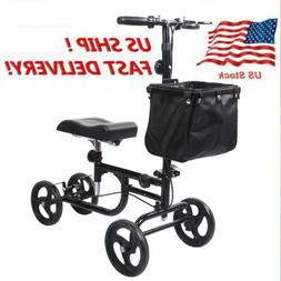 US Foldable Steerable Knee Walker Scooter Crutch Turning Bra