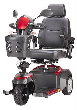 Drive Medical Ventura 3 Wheel Scooter with Captain Seat, Red
