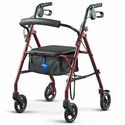 Walker Medline Steel Rollator Rolling Wheels with Padded Sea